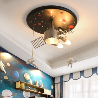 Kids Space Station Ceiling Lamp Resin 2 Bulbs Bedroom Flush Mount Light Fixture in Black with Astronomer Drop, 16