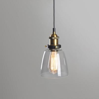 Bell Shade Bedside Hanging Light Loft Clear/Amber/Smoke Glass 1 Light Brass Ceiling Pendant Lamp
