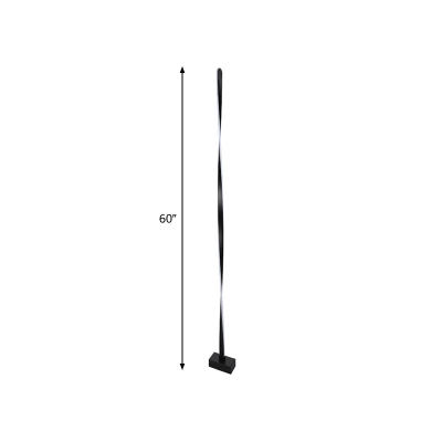 Twisted/Wavy Linear/Bubble LED Floor Light Novelty Minimalist Black Standing Floor Lamp in Warm/White Light