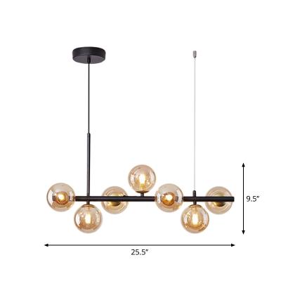 Post-Modern Molecule Island Lighting Amber/White/Smoke Grey Glass 7/9/11 Bulbs Kitchen Bar Pendant Lamp in Black/Gold