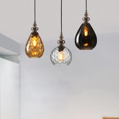 Teardrop Dining Room Pendulum Light Loft Style Clear/Amber Rippled/Smoke Glass 1 Head Black Hanging Lamp Kit