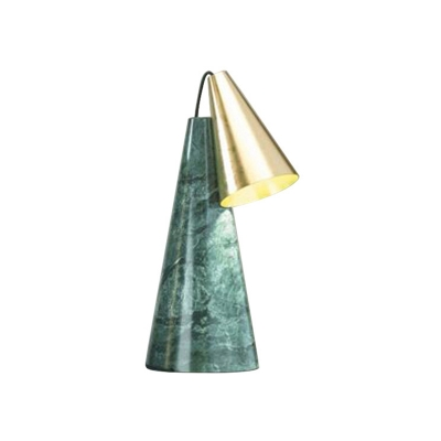 Cone Night Table Light Postmodern Marble 1 Bulb Green/White and Gold Nightstand Lamp for Living Room