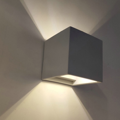 Grey Square/Rectangle Up Down Wall Sconce Minimalist 1 Bulb 4
