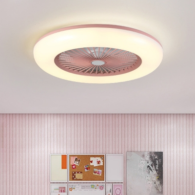 Minimalist Circular Flush Ceiling Fan Light Acrylic Bedroom 5 Blades LED Semi Mount Lighting in Coffee/Pink/Blue, 22