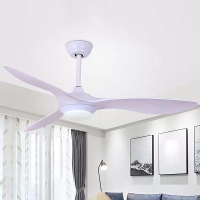 3 Blades Circle LED Pendant Fan Lighting Simplicity Acrylic Black/White Semi Flush Mount Ceiling Light, 52