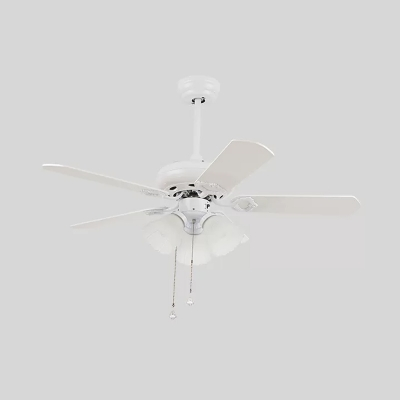 3 Lights 5-Blade Ceiling Fan Lighting Country Opal Glass Flower Pull Chain Semi Flush Light Fixture in White, 42