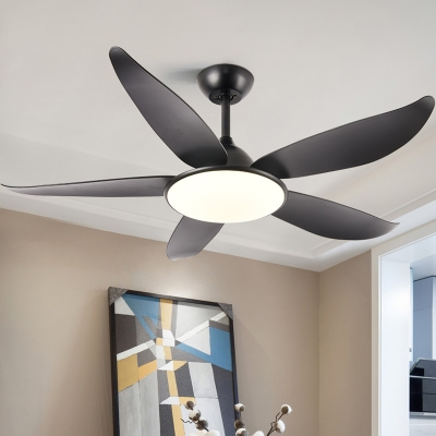 Black Flower Shaped Semi Flush Light Fixture Rural Acrylic Living Room 5-Blade LED Ceiling Fan Lamp, 42