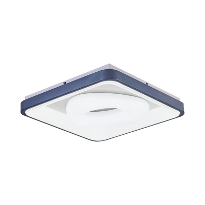 Metal Round/Square LED Ceiling Flush Nordic Blue Flushmount Lighting with Inner Triangle Plastic Shade