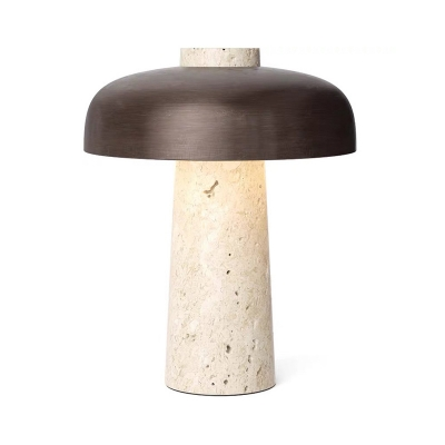Concrete Mushroom Table Lamp Nordic 1 Bulb Black Nightstand Light with Plug-in Cord