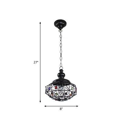 Iron Black Pendulum Light Hollowed out Oval/Scalloped/Star Shaped 1 Head Bohemia Hanging Lamp over Table