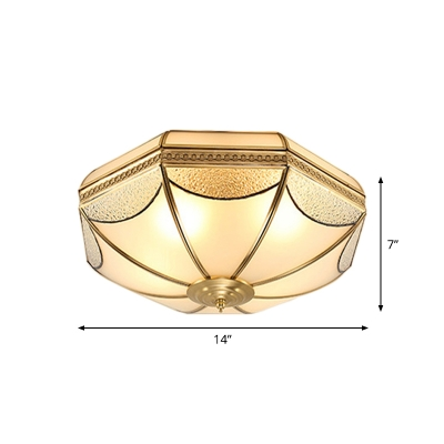 Opal Frosted Glass Brass Flush Mount Round/Drum/Flower 3 Lights Traditional Flush Ceiling Light Fixture