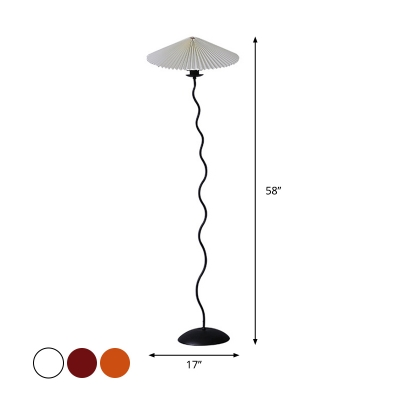 Single Pleated Fabric Floor Lamp Vintage White/Coffee/Burgundy Cone Shade Living Room Standing Light with Wavy Rod