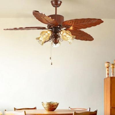 Brown Leaf Pull Chain Pendant Fan Lamp Farmhouse Wood 42