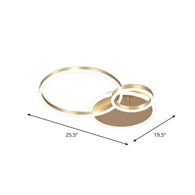 Brushed Gold 3/5-Ring Ceiling Light Stylish Modern Acrylic LED Semi Flush Mount Lamp in Warm/White Light