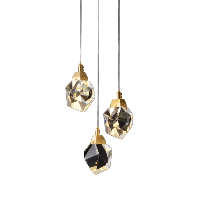Trendy Modern Teardrop Pendant Light Cut Crystal 3/5/24 Lights Dining Room Multi Light Ceiling Light in Brass