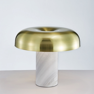 Brushed Brass-White Mushroom Night Lamp Postmodern 1-Light Marble Standing Table Light