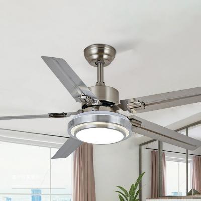 Circle Dining Room Semi Flush Mount Lamp Acrylic Modern 5 Blades LED Ceiling Fan Lighting in Silver/Nickel, 42