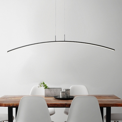 Minimalism LED Hanging Pendant Black/White Bridge Curve Island Lighting with Acrylic Shade, Warm/White Light