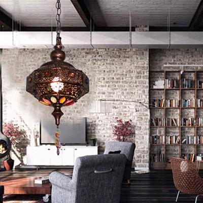 1-Light Octagon Lantern Pendulum Light Boho Copper Iron Hanging Ceiling Light for Dining Room