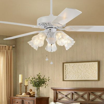 Blossom Carved Glass Semi Flush Ceiling Lamp Farmhouse 5-Bulb Parlor 5 Blades Hanging Fan Light Fixture in White, 52