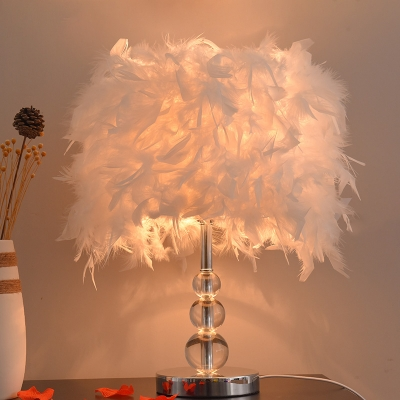 Cylindrical Feather Nightstand Light Contemporary 1 Bulb Red/White/Purple Table Lamp with Crystal Gourd Base