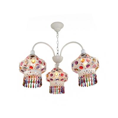 Mediterranean Lantern Chandelier 3 Lights Iron Ceiling Pendant with Beaded Fringe in White/Red/Blue