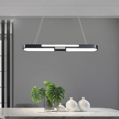Rectangle Kitchen Bar Drop Pendant Acrylic Modern LED Hanging Island Light in Black/Gold, Warm/White Light