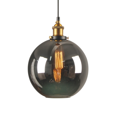 1 Head Smoke Glass Pendant Lamp Vintage Brass Finish Dome/Globe/Cone Bedroom Hanging Ceiling Light