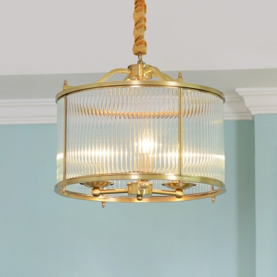 3/5/6-Light Clear Ribbed Glass Chandelier Vintage Brass Drum Dining Room Small/Medium/Large Hanging Ceiling Light