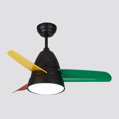 3-Blade Conical Hanging Fan Light Fixture Macaron Metal 36
