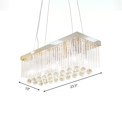 Rectangle Dining Room Island Lamp Modernist Crystal 6 Lights Chrome Hanging Light Fixture
