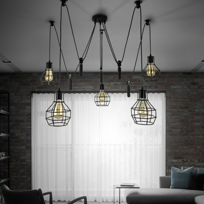 5 Head Cage Swag Pendant Lighting Industrial Black Metal Hanging Ceiling Light For Living Room Beautifulhalo Com