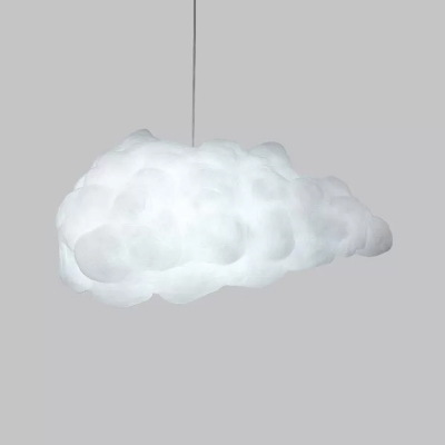 Cotton Cloud Pendant Lighting Art Deco 1-Bulb White Hanging Ceiling Light over Table