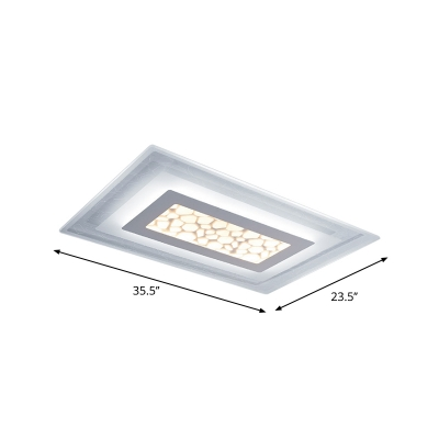 Round/Square/Rectangle Flush Mount Lamp Modern Acrylic Bedroom Small/Large LED Ceiling Light with Pebble Look in White