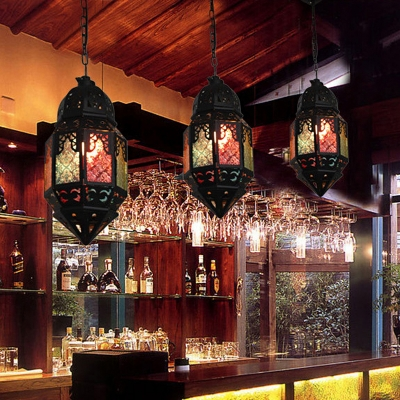 1 Head Stained Art Glass Pendulum Light Moroccan Black Lantern Dining Room Hanging Lamp