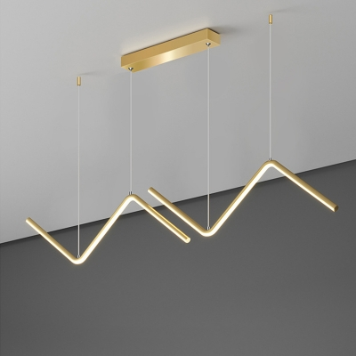 Aluminum Zigzag Pendulum Light Simplicity Black/Gold LED Multi Light Pendant over Dining Table