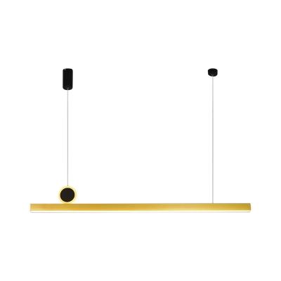 Gold Linear Ceiling Suspension Lamp Minimalism Metal LED Hanging Pendant Light, 39