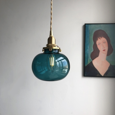 Mid-Century Oval Hanging Light Kit Blue/Clear Carved/Green Glass 1-Light Restaurant Drop Pendant in Brass