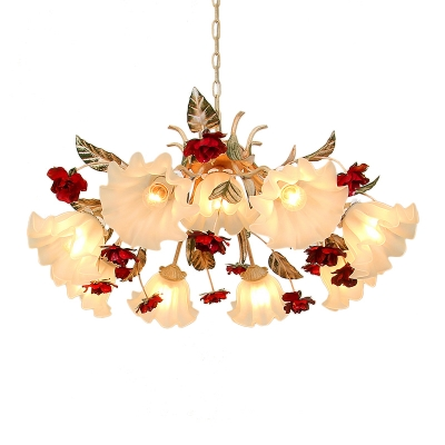 Opal Frosted Glass Beige Drop Lamp Blossoming Rose 4/6/9-Bulb Pastoral Chandelier Light Fixture