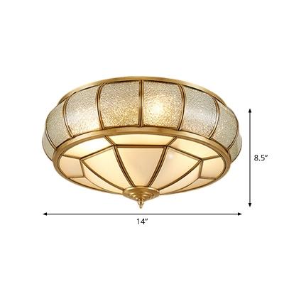 Opal Frosted Glass Brass Flush Mount Round/Drum/Flower 3 Lights Traditional Flush Ceiling Light Fixture