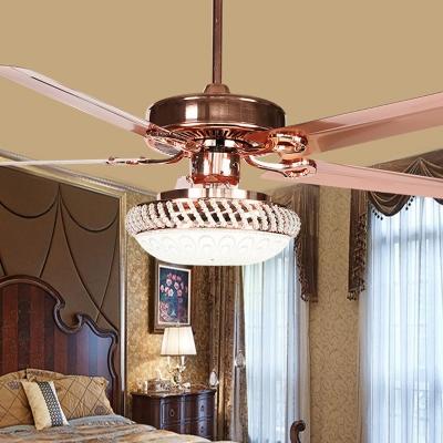Rose Gold 3-Light Pendant Fan Light Retro White Glass Bowl 4-Blade Semi Flush Ceiling Lamp, 42