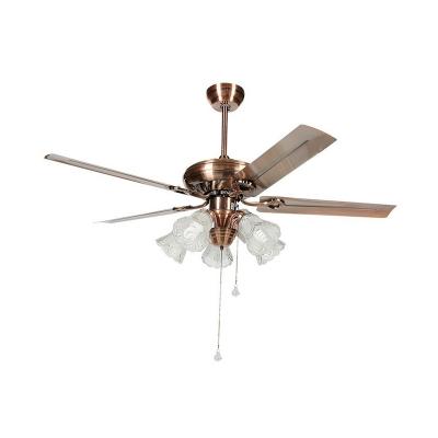 Clear Glass Copper Pendant Fan Lighting Floral 52