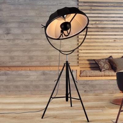 Fabric UFO Tripod Floor Light Artistic 1-Light Photo Studio Floor Standing Lamp in Black/Grey