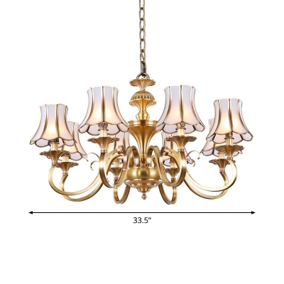 3/6/10 Lights Flared Chandelier Traditional Brass Frosted Glass Drop Lamp with Scalloped Trim