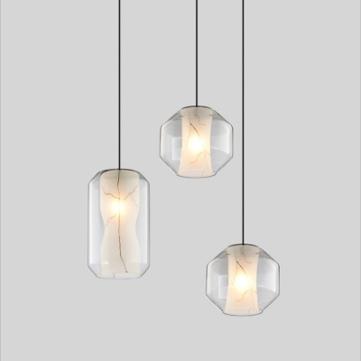 Cylinder/Lantern Clear Glass Hanging Lamp Modern 1 Head White Pendant Ceiling Light with Inner Flared Faux Marble Shade