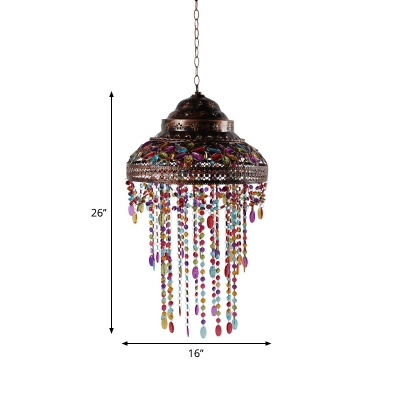 Metal Copper Finish Pendant Lighting Bowl Shaped Single Bohemia Hanging Light with Beaded Fringe