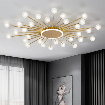 Contemporary 18-Head Flush Ceiling Light Black/Gold Sputnik Semi Mount Lighting with Ball Frosted White Glass Shade