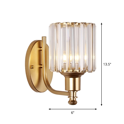 Cylinder/Demilune Wall Sconce Modern Crystal Prism 1 Bulb Gold Wall Mount Lamp for Living Room