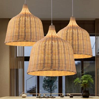 Beige Bell Shade Pendant Light Kit Asian 1 Bulb 10