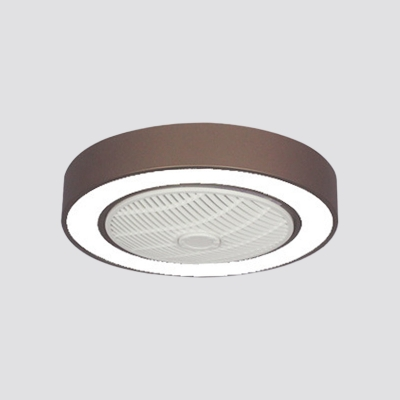Dining Room LED Ceiling Fan Light Simplicity Grey/White/Pink 3-Blade Semi Flush Mount with Round Acrylic Shade, 22